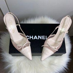 CHANEL Slingback Kitten Heels Size 36